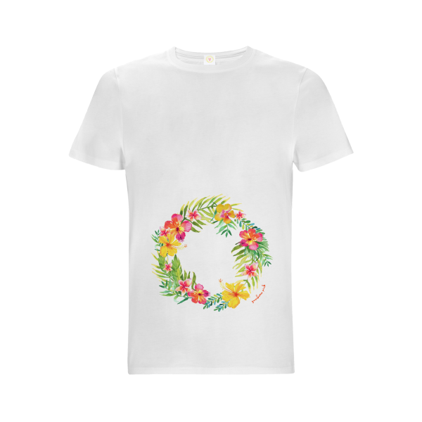 Gooseberry Pink tropical garland relaxed fit top in white organic cotton