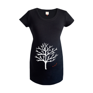 Gooseberry Pink winter tree maternity top in black organic cotton