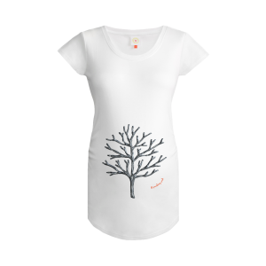 Gooseberry Pink winter tree maternity top in white organic cotton