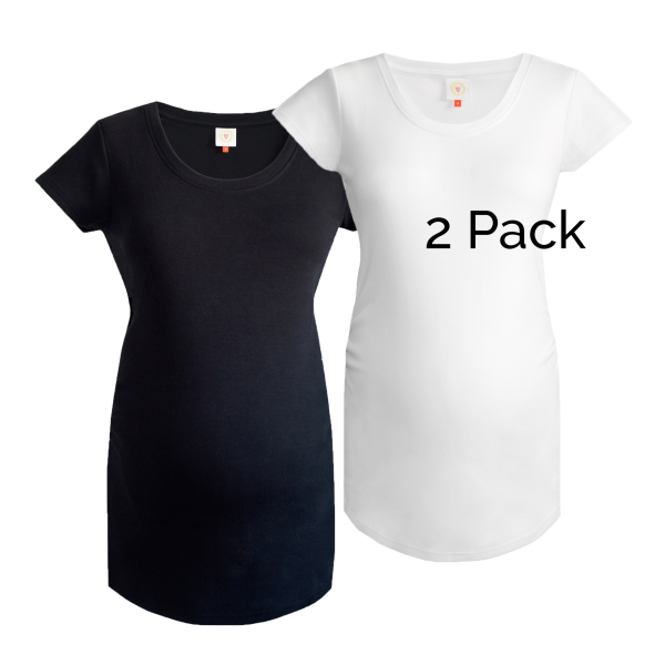 2 pack of plain maternity tops in black and white