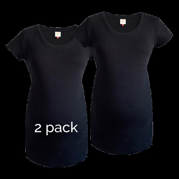 2 pack of plain black maternity tops