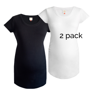 2 pack of plain maternity tops black and white