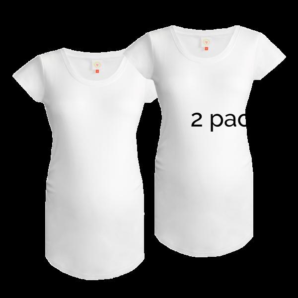 2 pack of plain white maternity tops