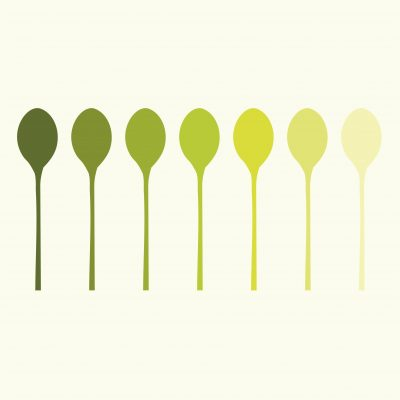 Picture of spoons in seven shades of green